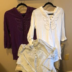 Boho style hooded tops. Lot of 3